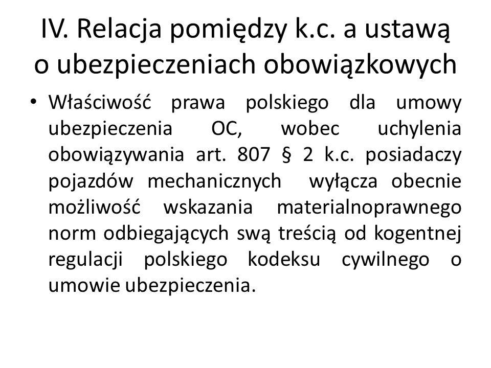 IV. Relacja pomiędzy k.c. a ustawą o ubezpieczeniach obowiązkowych Właściwość prawa polskiego dla umowy ubezpieczenia OC, wobec uchylenia obowiązywani