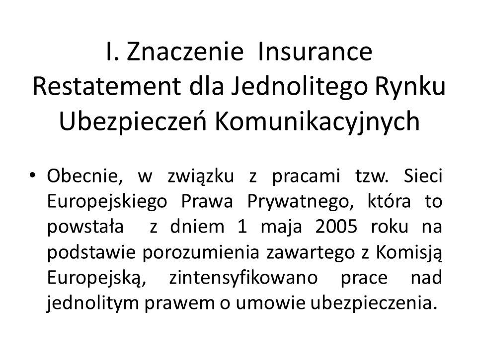 I. Znaczenie Insurance Restatement dla Jednolitego Rynku Ubezpieczeń Komunikacyjnych Obecnie, w związku z pracami tzw. Sieci Europejskiego Prawa Prywa