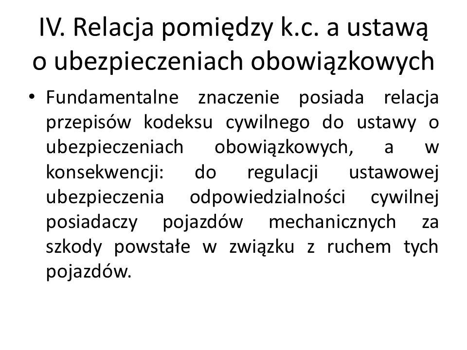 IV. Relacja pomiędzy k.c. a ustawą o ubezpieczeniach obowiązkowych Fundamentalne znaczenie posiada relacja przepisów kodeksu cywilnego do ustawy o ube