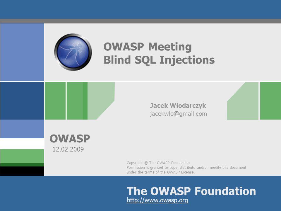 OWASP 2 Forma prezentacji Forma dzisiejszej prezentacji będzie składać się z omówienia ataków typu Blind SQL Injection na przykładach praktycznych Wykorzystane środowisko to BT3 wraz z tym co oferuje ta wersja standardowo Wykorzystane przykłady dotyczą środowiska MySQL oraz aplikacji PHP