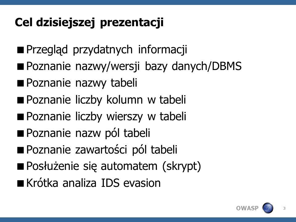 OWASP 3 Cel dzisiejszej prezentacji Przegląd przydatnych informacji Poznanie nazwy/wersji bazy danych/DBMS Poznanie nazwy tabeli Poznanie liczby kolumn w tabeli Poznanie liczby wierszy w tabeli Poznanie nazw pól tabeli Poznanie zawartości pól tabeli Posłużenie się automatem (skrypt) Krótka analiza IDS evasion