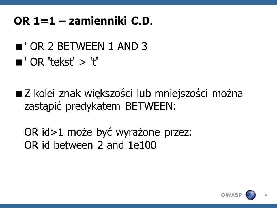 OWASP 9 OR 1=1 – zamienniki C.D.