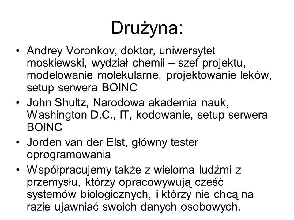 Drużyna: Andrey Voronkov, doktor, uniwersytet moskiewski, wydział chemii – szef projektu, modelowanie molekularne, projektowanie leków, setup serwera
