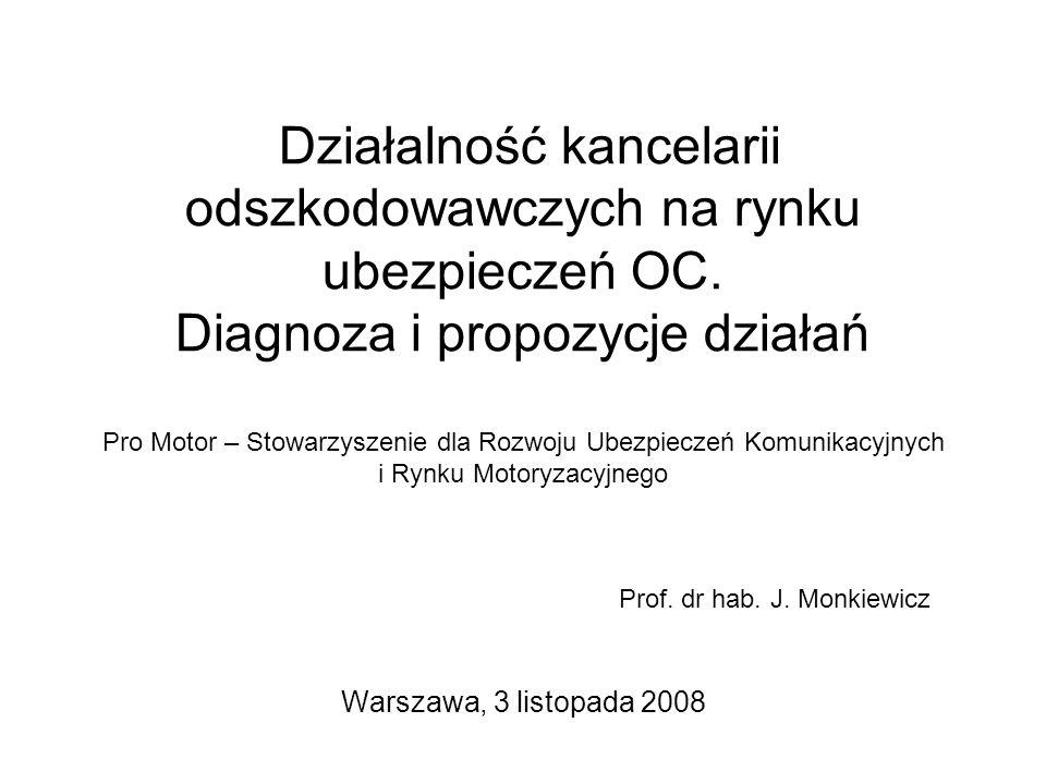 Działalność kancelarii odszkodowawczych na rynku ubezpieczeń OC. Diagnoza i propozycje działań Pro Motor – Stowarzyszenie dla Rozwoju Ubezpieczeń Komu