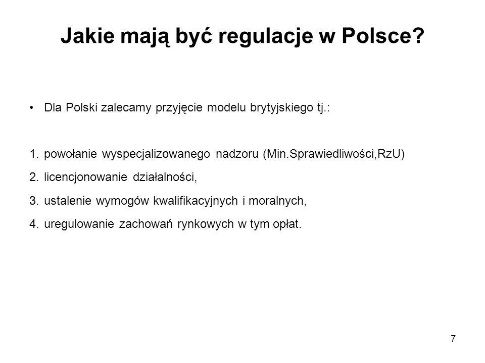 7 Jakie mają być regulacje w Polsce? Dla Polski zalecamy przyjęcie modelu brytyjskiego tj.: 1.powołanie wyspecjalizowanego nadzoru (Min.Sprawiedliwośc