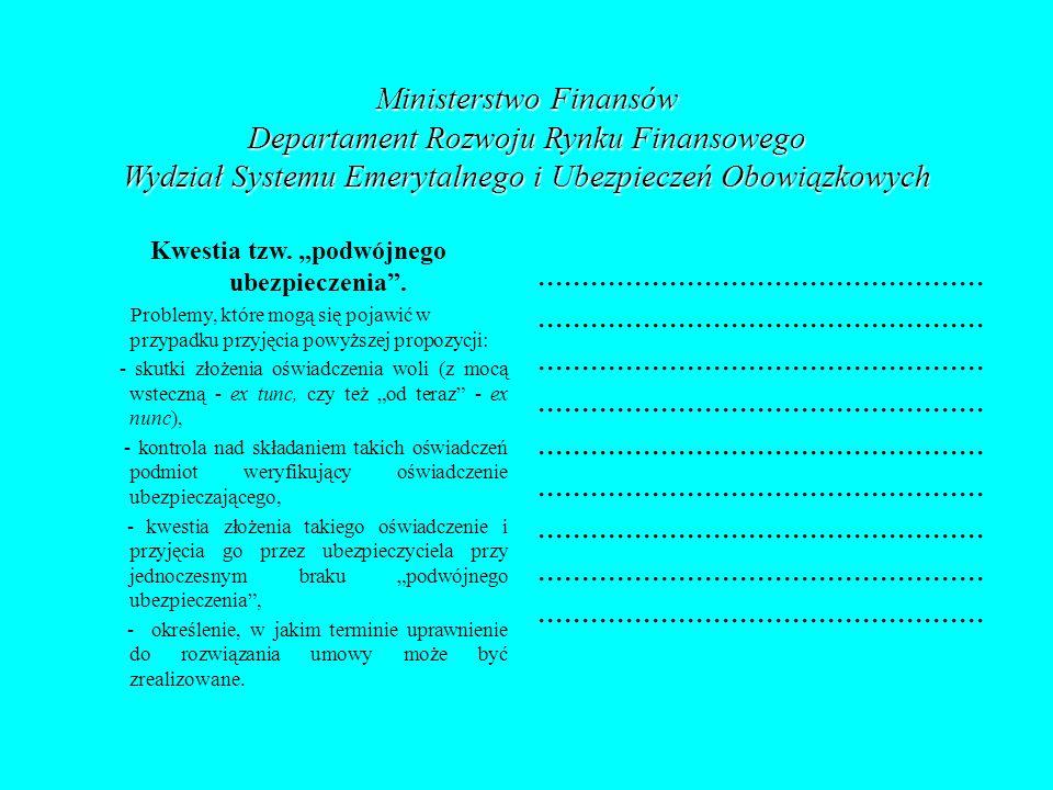 Ministerstwo Finansów Departament Rozwoju Rynku Finansowego Wydział Systemu Emerytalnego i Ubezpieczeń Obowiązkowych Kwestia tzw. podwójnego ubezpiecz