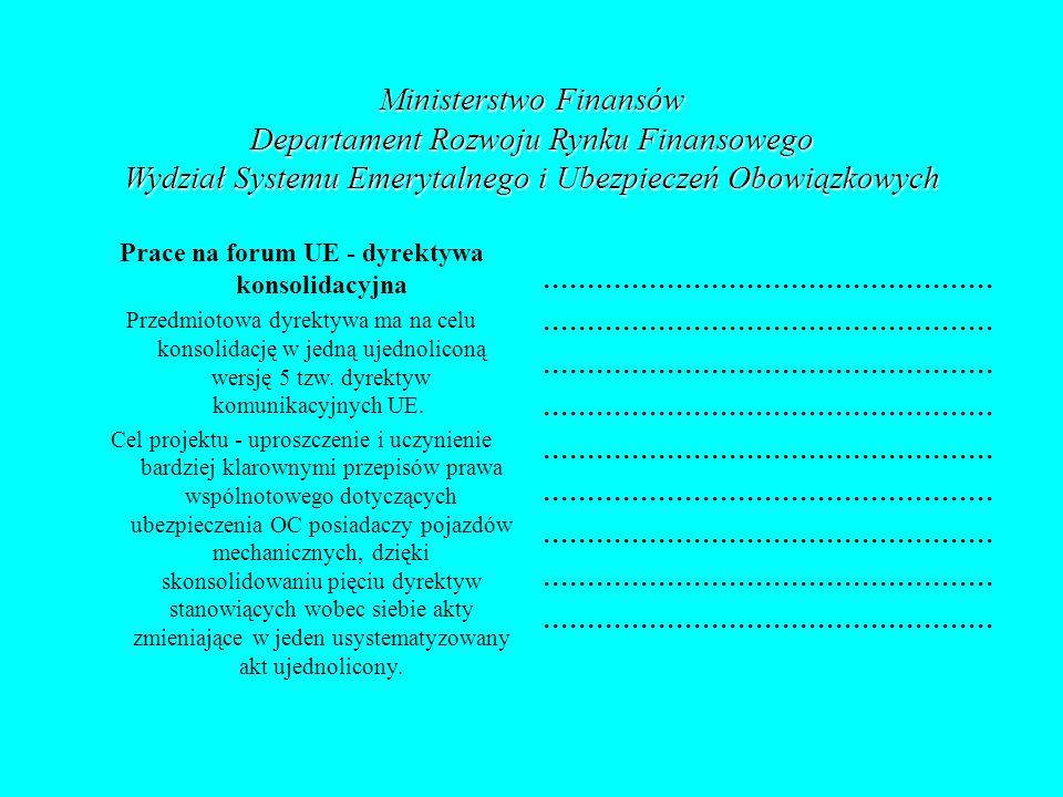 Ministerstwo Finansów Departament Rozwoju Rynku Finansowego Wydział Systemu Emerytalnego i Ubezpieczeń Obowiązkowych Prace na forum UE - dyrektywa kon