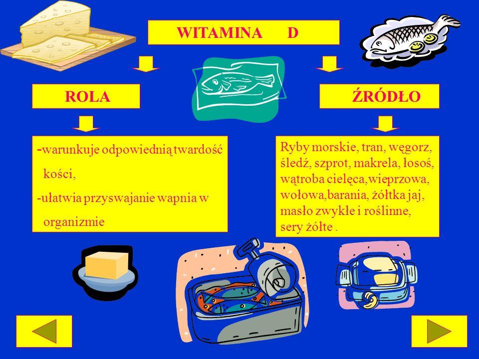 WITAMINA D ROLA ŹRÓDŁO - warunkuje odpowiednią twardość kości, -ułatwia przyswajanie wapnia w organizmie Ryby morskie, tran, węgorz, śledź, szprot, ma