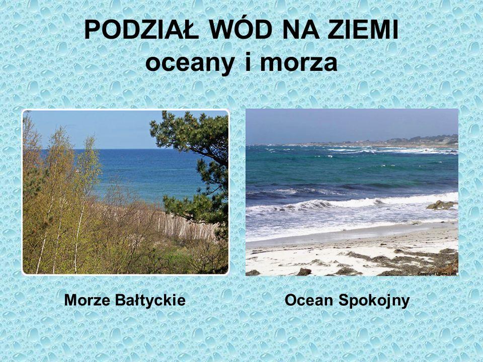 PODZIAŁ WÓD NA ZIEMI oceany i morza Morze BałtyckieOcean Spokojny