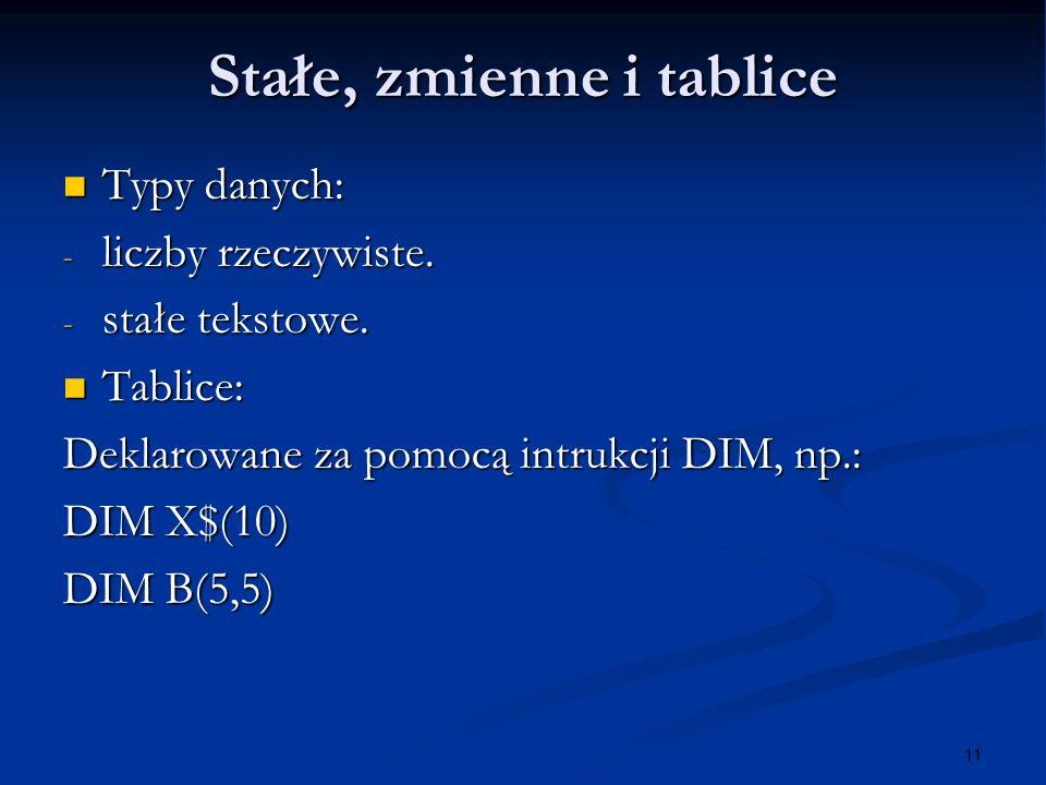 11 Stałe, zmienne i tablice Typy danych: Typy danych: - liczby rzeczywiste. - stałe tekstowe. Tablice: Tablice: Deklarowane za pomocą intrukcji DIM, n