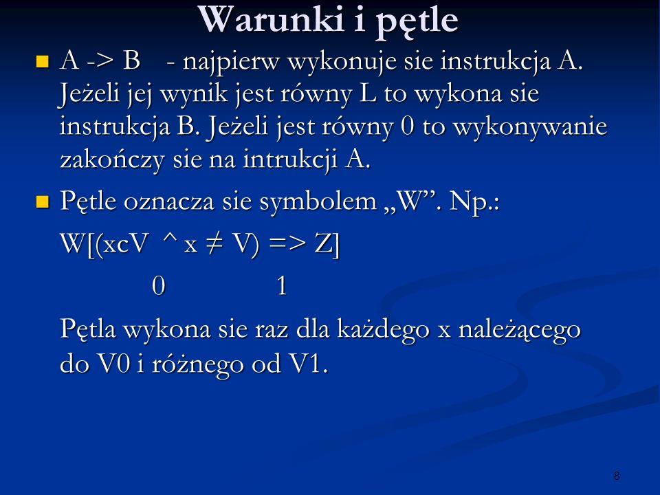 19 Przykład programu PROGRAM ABC INTEGER A,B,C REAL X1,X2 COMMON /X/X1,X2 DATA A,B,C/9,8,-1/ CALL SOLVE(A,B,D (A,B,C)) PRINT *,X1,X2 END FUNCTION D (A,B,C) INTEGER A,B,C D = (B**2 - 4*A*C)**0.5 RETURNEND SUBROUTINE SOLVE (A,B,D) INTEGER A,B REAL D COMMON /X/X1,X2 X1 = (-B+D)/(2*A) X2 = (-B-D)/(2*A) RETURNEND