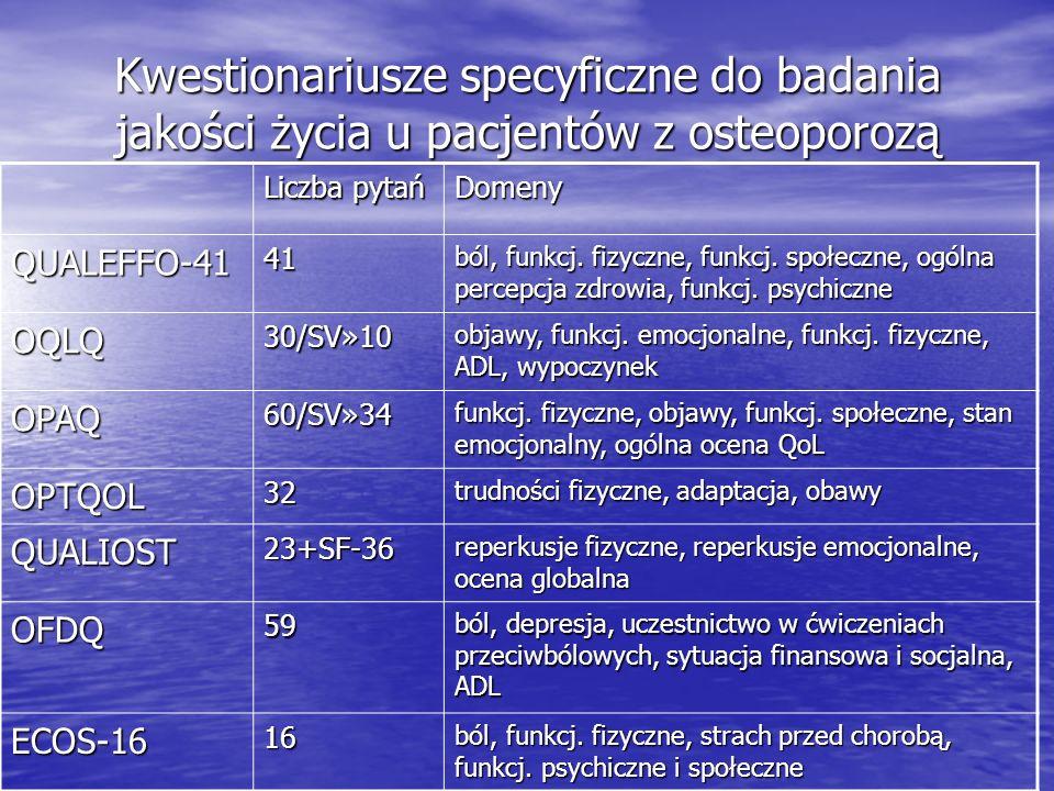 Kwestionariusze specyficzne do badania jakości życia u pacjentów z osteoporozą Liczba pytań Domeny QUALEFFO-4141 ból, funkcj. fizyczne, funkcj. społec