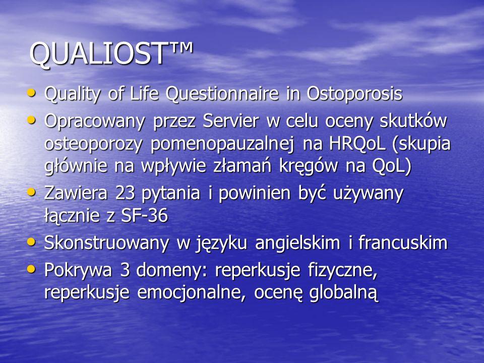 QUALIOST Quality of Life Questionnaire in Ostoporosis Quality of Life Questionnaire in Ostoporosis Opracowany przez Servier w celu oceny skutków osteo