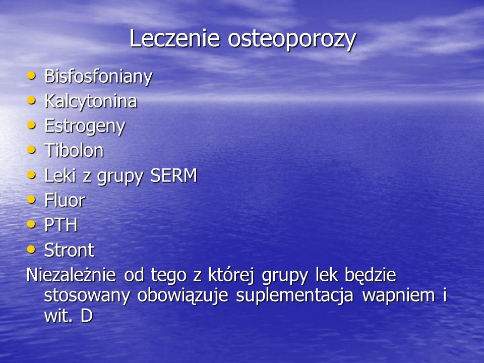 Leczenie osteoporozy Bisfosfoniany Bisfosfoniany Kalcytonina Kalcytonina Estrogeny Estrogeny Tibolon Tibolon Leki z grupy SERM Leki z grupy SERM Fluor