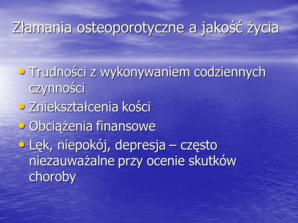 Złamania osteoporotyczne a jakość życia Trudności z wykonywaniem codziennych czynności Trudności z wykonywaniem codziennych czynności Zniekształcenia