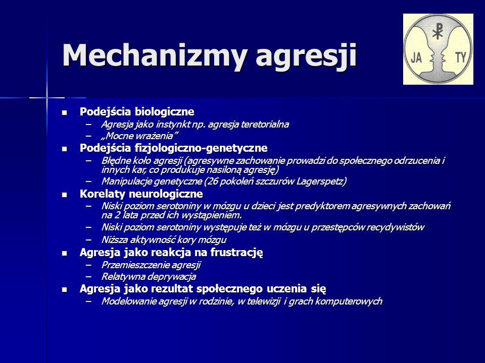 Mechanizmy agresji Podejścia biologiczne Podejścia biologiczne –Agresja jako instynkt np.