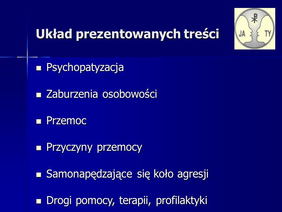Układ prezentowanych treści Psychopatyzacja Psychopatyzacja Zaburzenia osobowości Zaburzenia osobowości Przemoc Przemoc Przyczyny przemocy Przyczyny przemocy Samonapędzające się koło agresji Samonapędzające się koło agresji Drogi pomocy, terapii, profilaktyki Drogi pomocy, terapii, profilaktyki