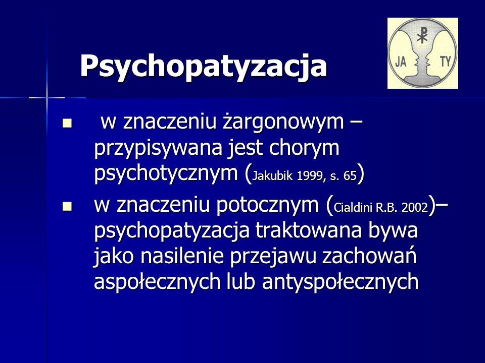 Na czym polega psychopatyzacja życia Objawy podstawowe Objawy podstawowe Ubóstwo emocjonalne Ubóstwo emocjonalne Uchylanie się od odpowiedzialności, infantylizm psychiczny Uchylanie się od odpowiedzialności, infantylizm psychiczny Przemoc, agresywność, terror Przemoc, agresywność, terror Zaburzenia życia rodzinnego Zaburzenia życia rodzinnego Patologie społeczne: gwałty, bicie, przemoc werbalna, gangi, mafie, czystki etniczne, terror (W.