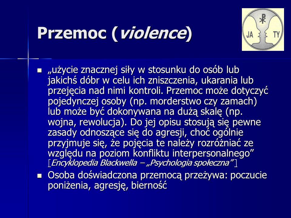 Przemoc (violence) użycie znacznej siły w stosunku do osób lub jakichś dóbr w celu ich zniszczenia, ukarania lub przejęcia nad nimi kontroli.