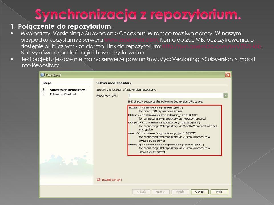 1. Połączenie do repozytorium. Wybieramy: Versioning > Subversion > Checkout. W ramce możliwe adresy. W naszym przypadku korzystamy z serwera www.asse