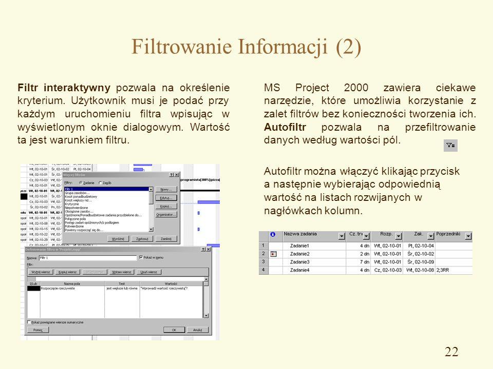 21 Filtrowanie Informacji Zastosowanie filtrów umożliwia wyświetlenie wybranych zadań lub zasobów projektu. Filtry nie powodują usunięcia żadnych info