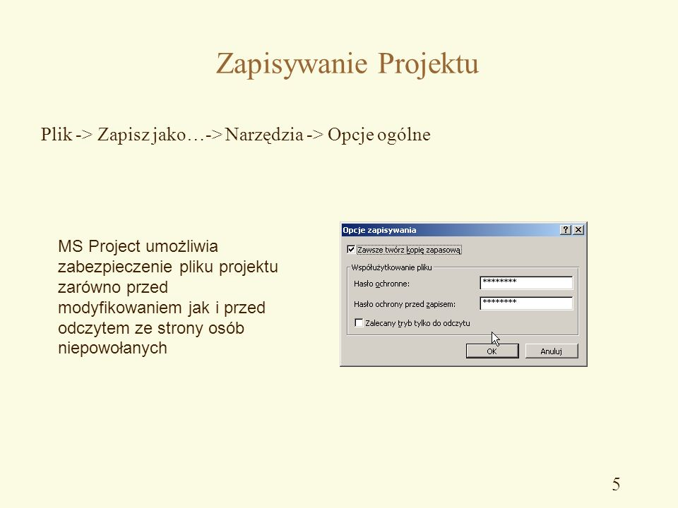 Info o Projekcie Plik -> Właściwości -> Podsumowanie W tym oknie należy wprowadzić podstawowe informacje na temat projektu (nazwę, czego dotyczy, kier