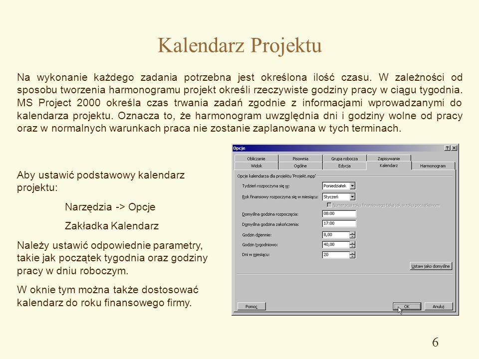 5 Plik -> Zapisz jako…-> Narzędzia -> Opcje ogólne MS Project umożliwia zabezpieczenie pliku projektu zarówno przed modyfikowaniem jak i przed odczyte