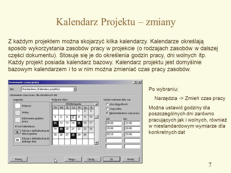 6 Kalendarz Projektu Na wykonanie każdego zadania potrzebna jest określona ilość czasu. W zależności od sposobu tworzenia harmonogramu projekt określi