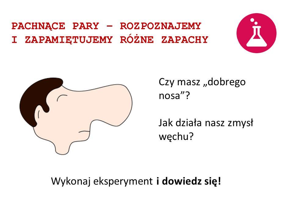 PACHNĄCE PARY – ROZPOZNAJEMY I ZAPAMIĘTUJEMY RÓŻNE ZAPACHY Czy masz dobrego nosa? Jak działa nasz zmysł węchu? Wykonaj eksperyment i dowiedz się!