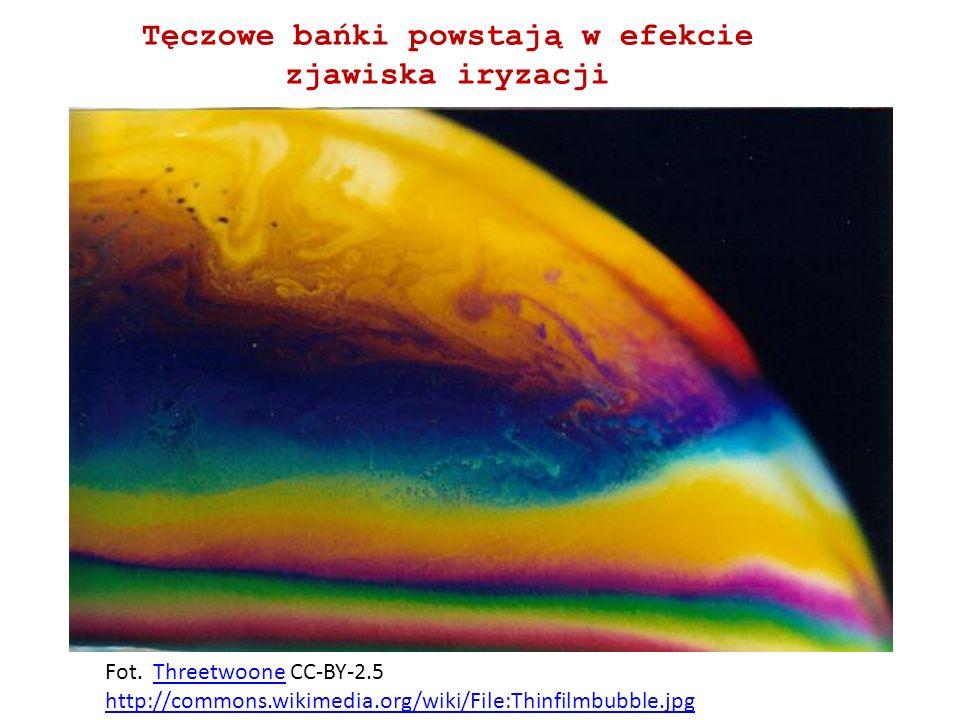Tęczowe bańki powstają w efekcie zjawiska iryzacji Fot. Threetwoone CC-BY-2.5Threetwoone http://commons.wikimedia.org/wiki/File:Thinfilmbubble.jpg
