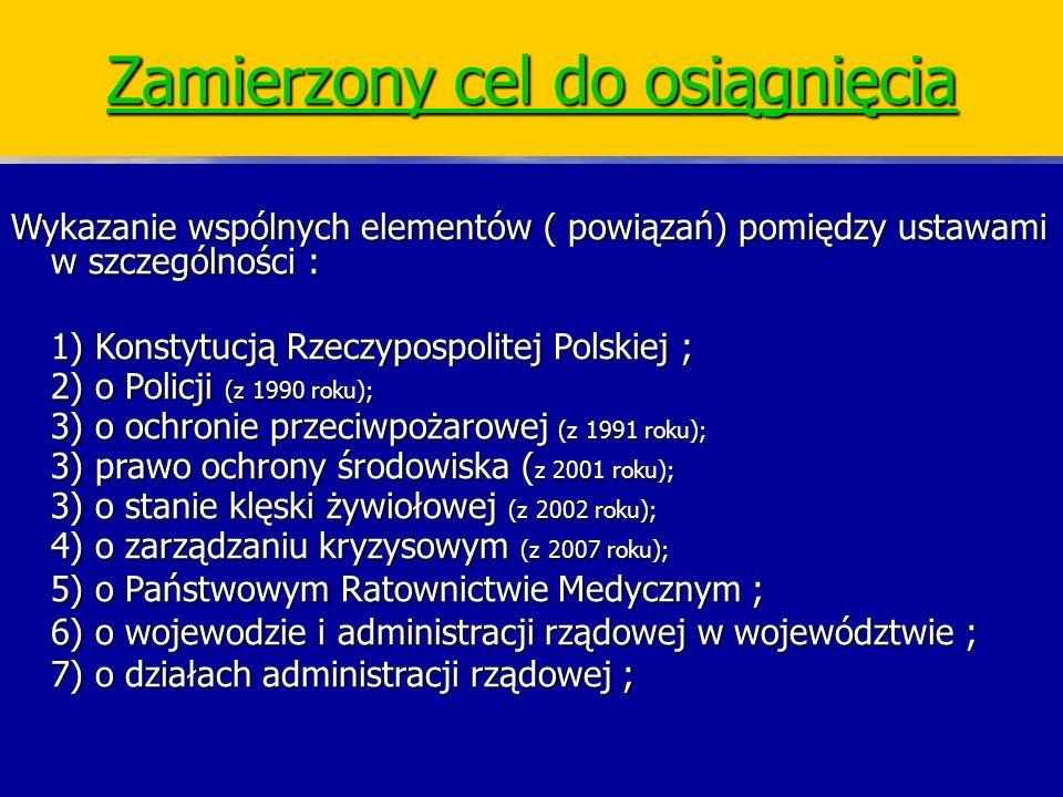 Zarządzanie Kryzysowe Wykazanie wspólnych elementów ( powiązań) pomiędzy ustawami w szczególności : 1) Konstytucją Rzeczypospolitej Polskiej ; 2) o Po