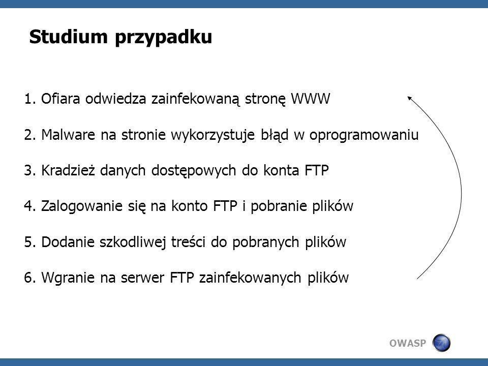 OWASP Studium przypadku 1. Ofiara odwiedza zainfekowaną stronę WWW 2. Malware na stronie wykorzystuje błąd w oprogramowaniu 3. Kradzież danych dostępo