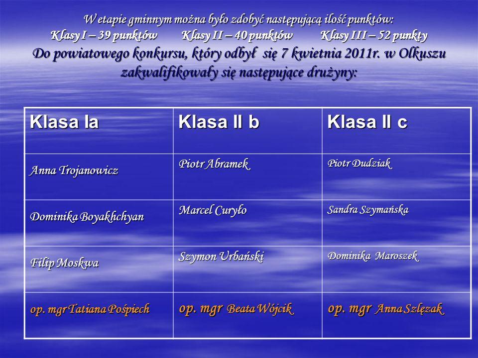 W etapie gminnym można było zdobyć następującą ilość punktów: Klasy I – 39 punktów Klasy II – 40 punktów Klasy III – 52 punkty Do powiatowego konkursu
