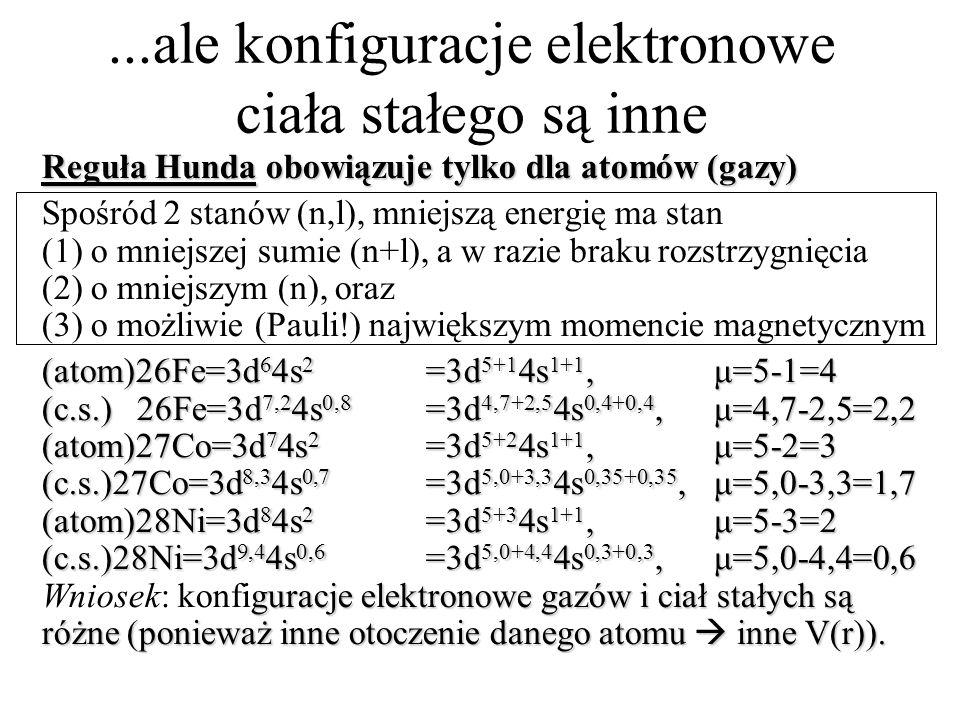 ...ale konfiguracje elektronowe ciała stałego są inne Reguła Hunda obowiązuje tylko dla atomów (gazy) Spośród 2 stanów (n,l), mniejszą energię ma stan