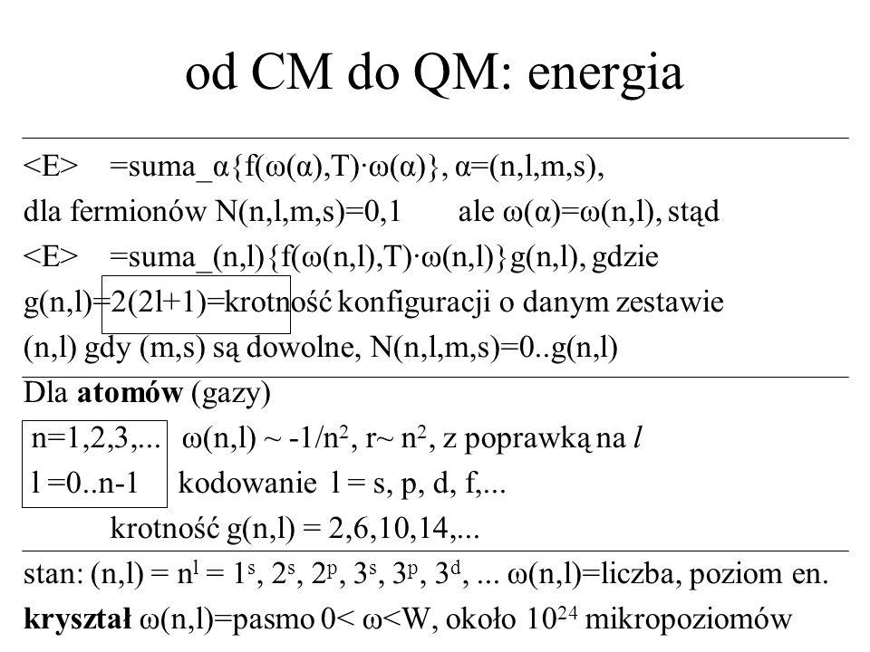 od CM do QM: energia =suma_α{f(ω(α),T)·ω(α)}, α=(n,l,m,s), dla fermionów N(n,l,m,s)=0,1 ale ω(α)=ω(n,l), stąd =suma_(n,l){f(ω(n,l),T)·ω(n,l)}g(n,l), g
