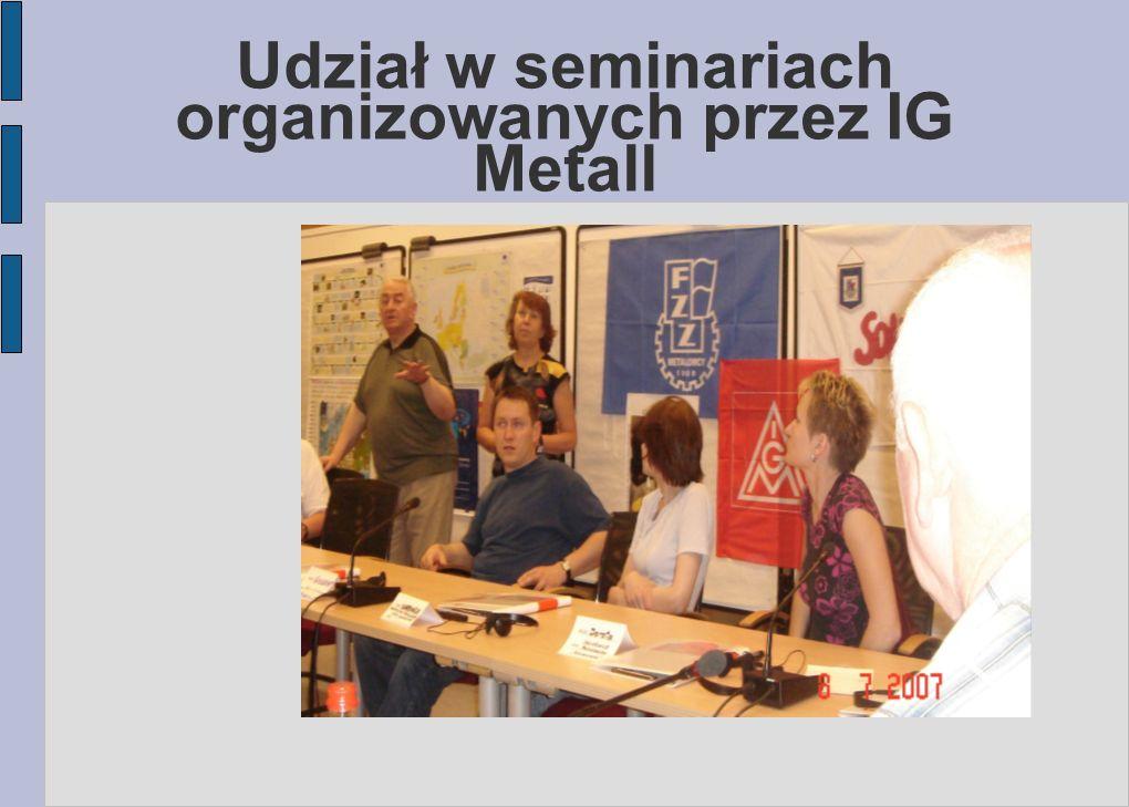 Udział w seminariach organizowanych przez IG Metall