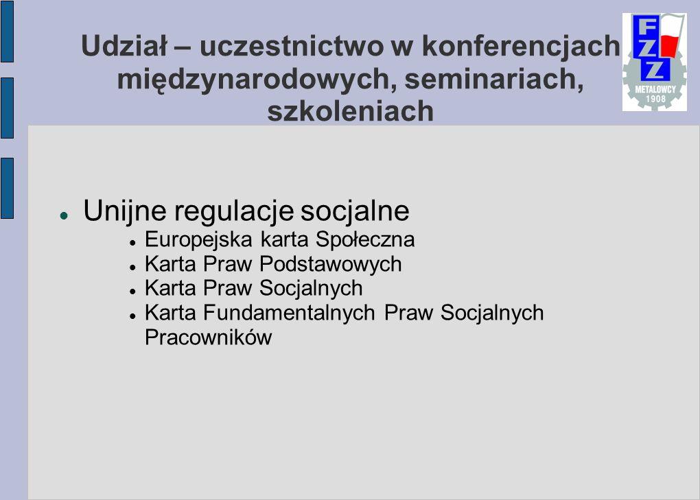 Udział – uczestnictwo w konferencjach międzynarodowych, seminariach, szkoleniach Unijne regulacje socjalne Europejska karta Społeczna Karta Praw Podstawowych Karta Praw Socjalnych Karta Fundamentalnych Praw Socjalnych Pracowników