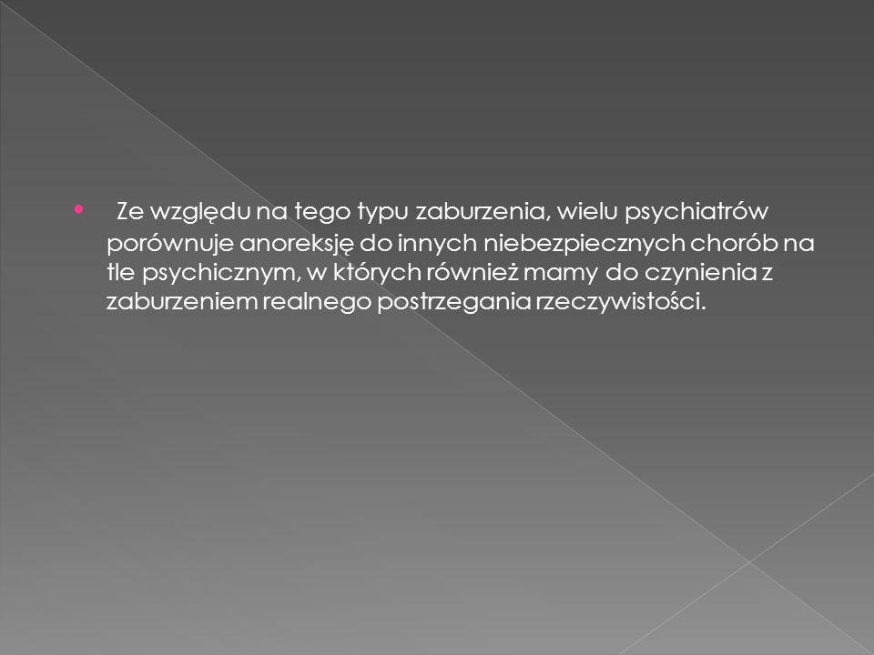 Ze względu na tego typu zaburzenia, wielu psychiatrów porównuje anoreksję do innych niebezpiecznych chorób na tle psychicznym, w których również mamy