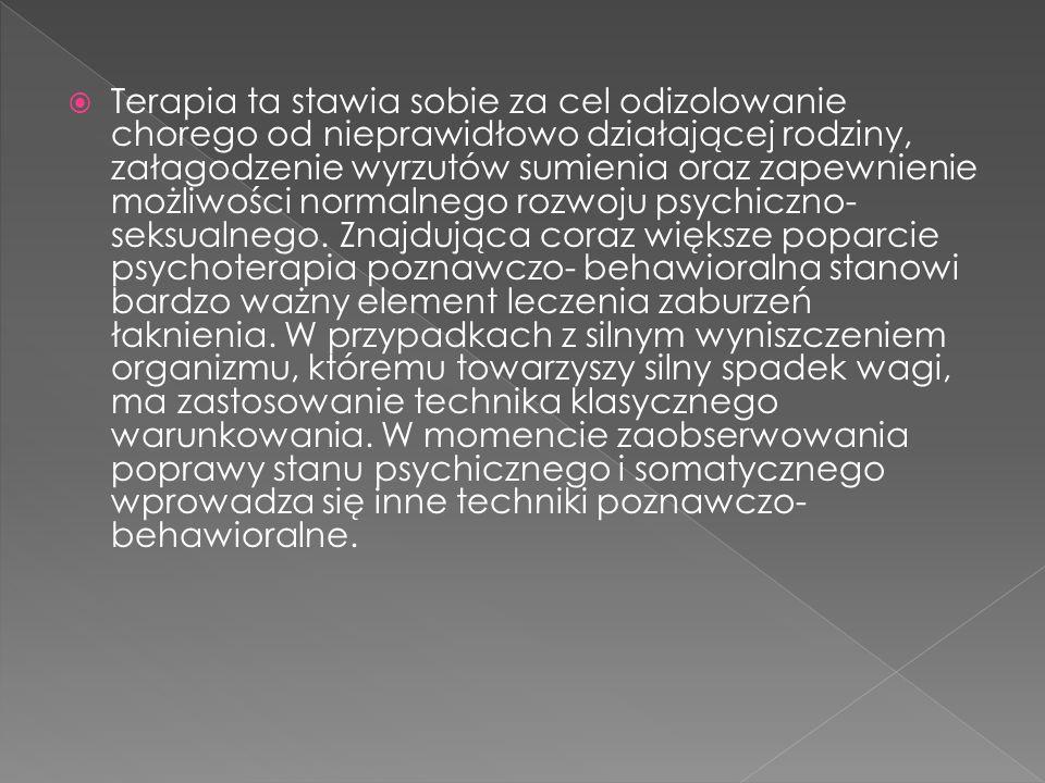 Terapia ta stawia sobie za cel odizolowanie chorego od nieprawidłowo działającej rodziny, załagodzenie wyrzutów sumienia oraz zapewnienie możliwości n