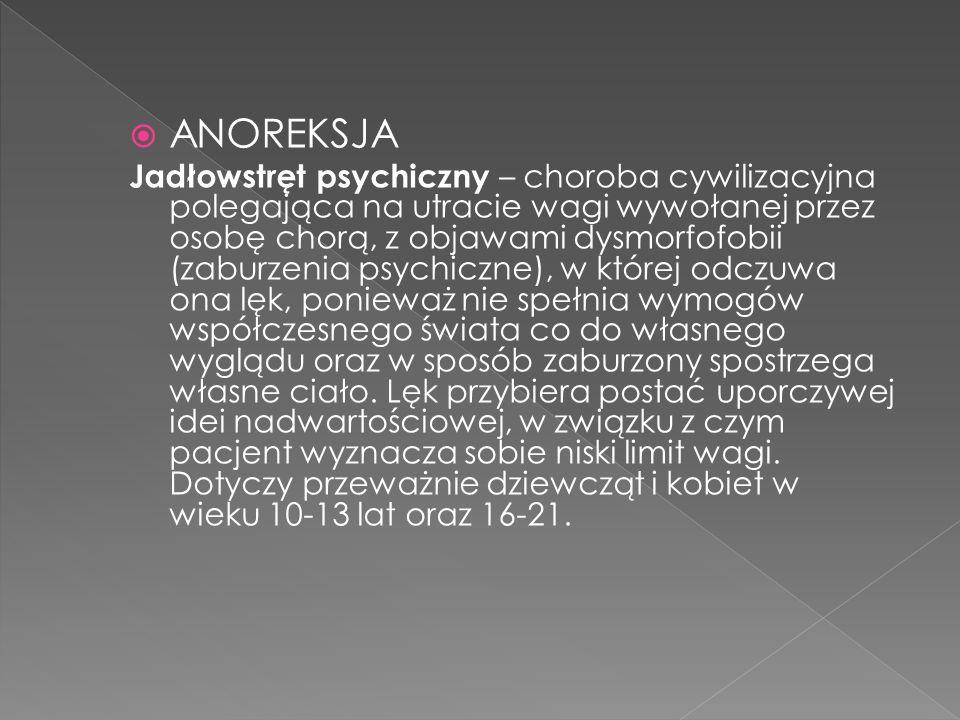 Ze względu na tego typu zaburzenia, wielu psychiatrów porównuje anoreksję do innych niebezpiecznych chorób na tle psychicznym, w których również mamy do czynienia z zaburzeniem realnego postrzegania rzeczywistości.