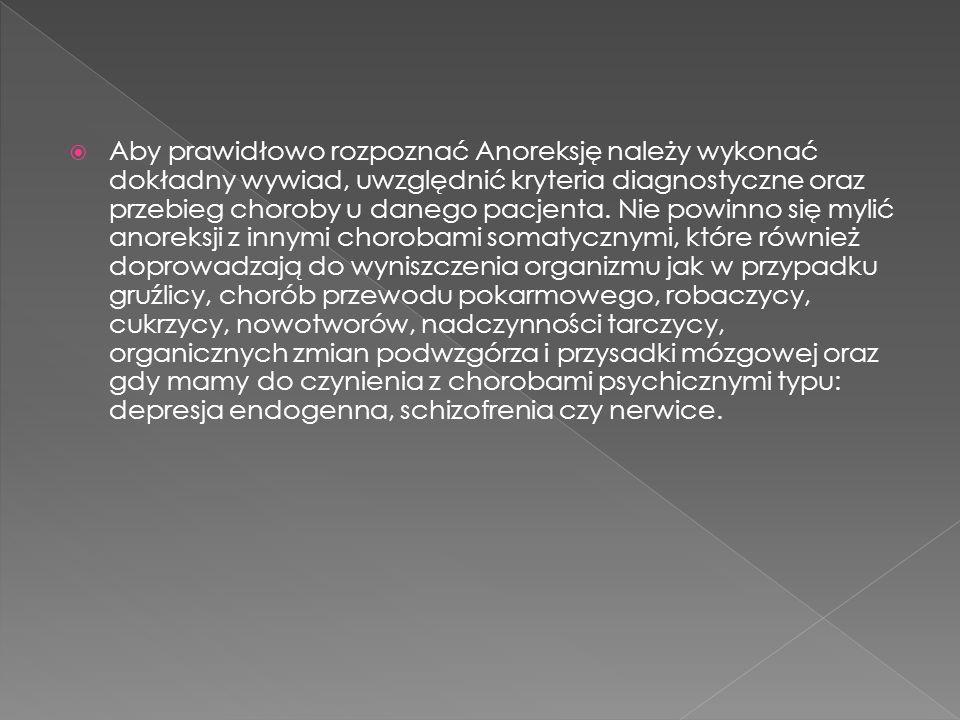 Aby prawidłowo rozpoznać Anoreksję należy wykonać dokładny wywiad, uwzględnić kryteria diagnostyczne oraz przebieg choroby u danego pacjenta. Nie powi
