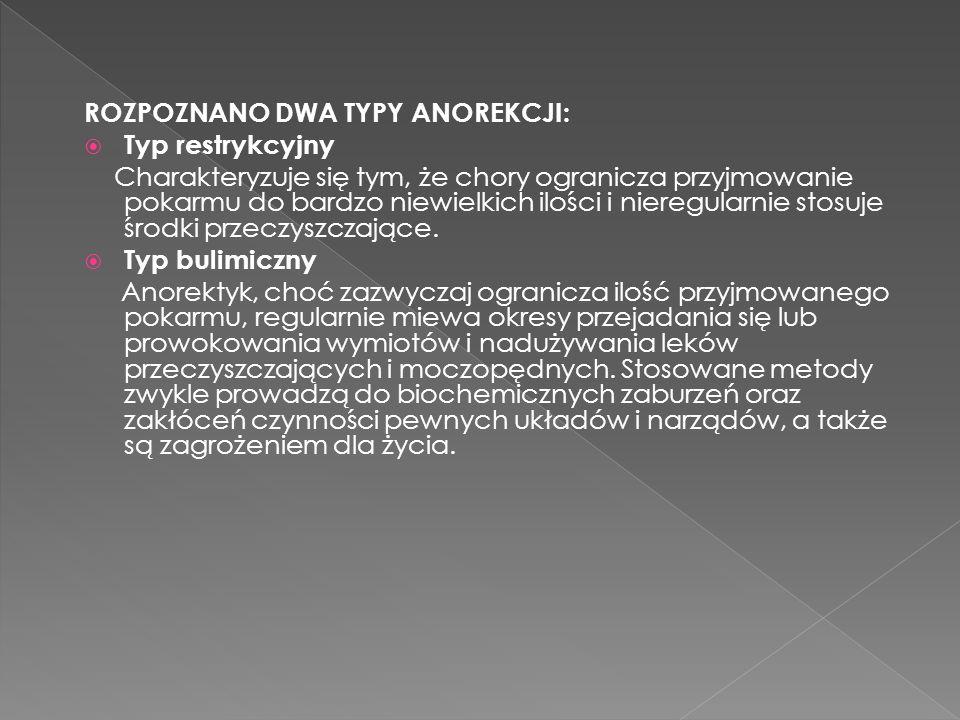 ROZPOZNANO DWA TYPY ANOREKCJI: Typ restrykcyjny Charakteryzuje się tym, że chory ogranicza przyjmowanie pokarmu do bardzo niewielkich ilości i nieregu