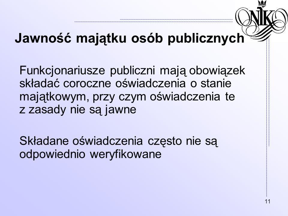 11 Jawność majątku osób publicznych Funkcjonariusze publiczni mają obowiązek składać coroczne oświadczenia o stanie majątkowym, przy czym oświadczenia
