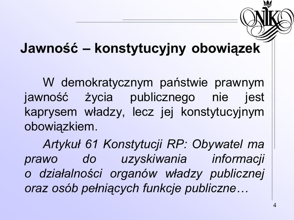 4 Jawność – konstytucyjny obowiązek W demokratycznym państwie prawnym jawność życia publicznego nie jest kaprysem władzy, lecz jej konstytucyjnym obow