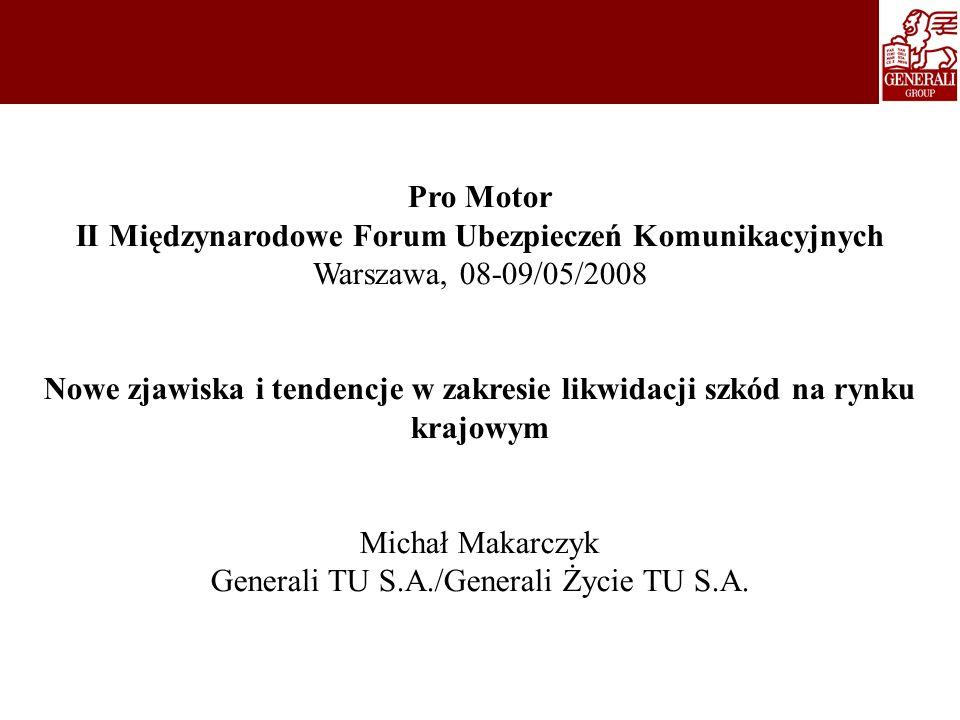 Pro Motor II Międzynarodowe Forum Ubezpieczeń Komunikacyjnych Warszawa, 08-09/05/2008 Nowe zjawiska i tendencje w zakresie likwidacji szkód na rynku k