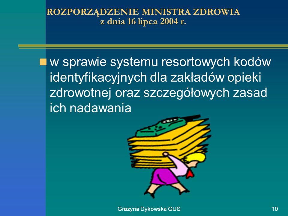 Grazyna Dykowska GUS10 ROZPORZĄDZENIE MINISTRA ZDROWIA z dnia 16 lipca 2004 r. w sprawie systemu resortowych kodów identyfikacyjnych dla zakładów opie