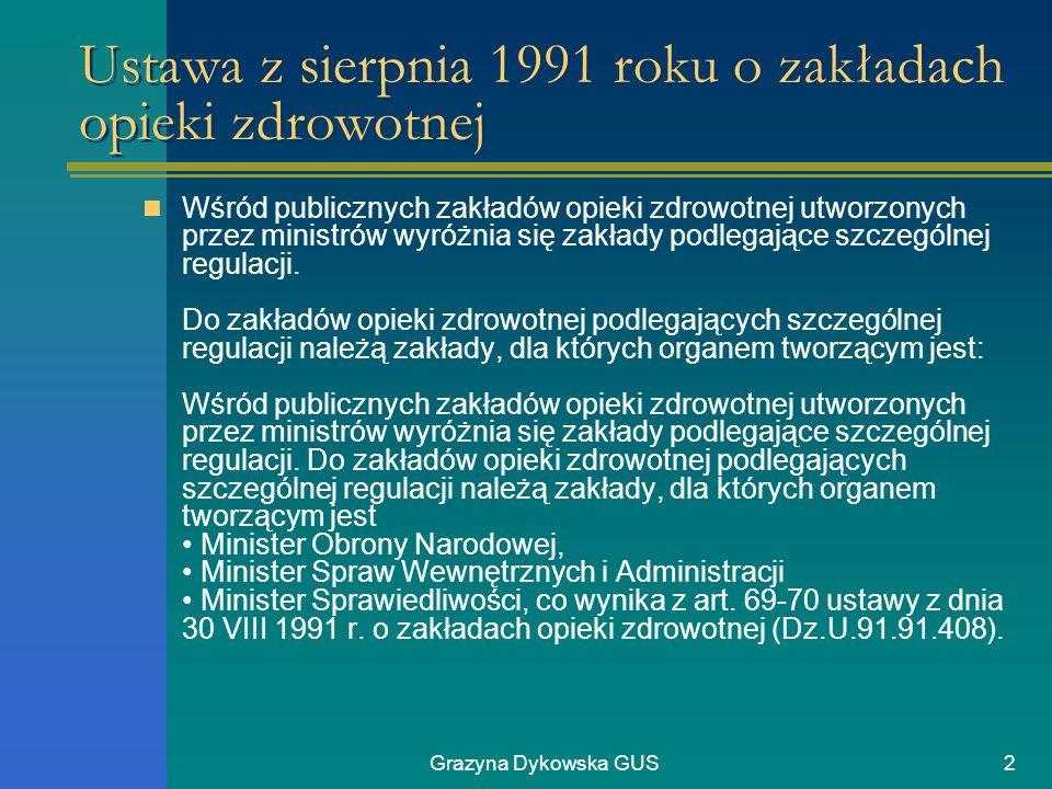 Grazyna Dykowska GUS2 Ustawa z sierpnia 1991 roku o zakładach opieki zdrowotnej Wśród publicznych zakładów opieki zdrowotnej utworzonych przez ministr
