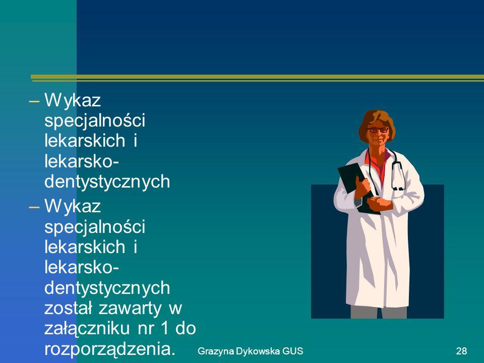 Grazyna Dykowska GUS28 –Wykaz specjalności lekarskich i lekarsko- dentystycznych –Wykaz specjalności lekarskich i lekarsko- dentystycznych został zawa