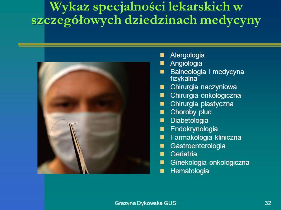 Grazyna Dykowska GUS32 Wykaz specjalności lekarskich w szczegółowych dziedzinach medycyny Alergologia Angiologia Balneologia i medycyna fizykalna Chir