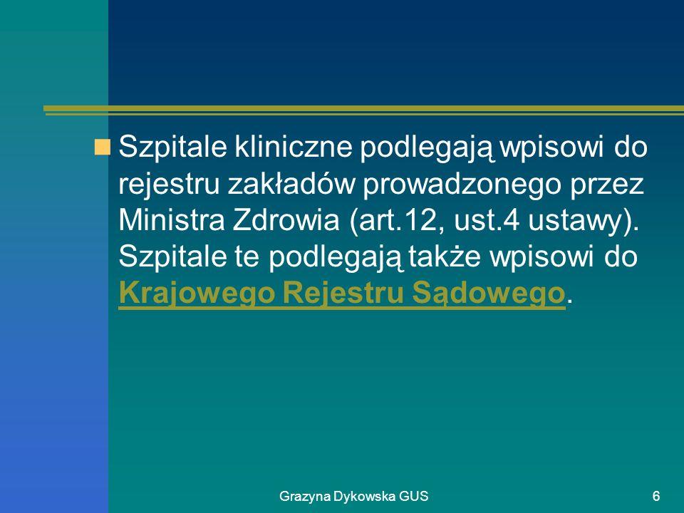 Grazyna Dykowska GUS6 Szpitale kliniczne podlegają wpisowi do rejestru zakładów prowadzonego przez Ministra Zdrowia (art.12, ust.4 ustawy). Szpitale t